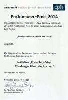 Pirckheimer-Preis 2014 'Erster bio-fairer N�rnberger Elisen-Lebkuchen'