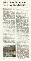 Zeitungsartikel zur 10 Jahresfeier