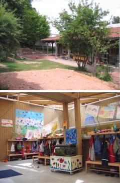Kindergarten St. Nikolaus   Bild oben - Außenansicht   Bild unten - Eingangsbereich