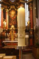 Jubiläumskerze - Gott ist in Jesus für uns Licht, Liebe und Leben