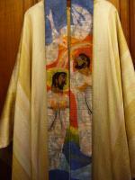 Stola: Taufe Jesu durch Johannes d. Täufer   Entwurf und Ausführung: Monassterio Santa Hildegardis CH-6644 Orselina