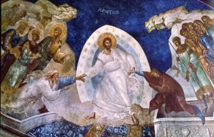 5.Fastensonntag (A) 'Ich hole euch herauf' (Ez 37,12), Fresko, Chora 14. Jht.