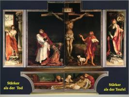 Die Kreuzigung Christi flankiert von Sebastian und Antonius d.Gr.