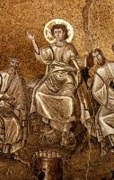 97-12 Fest d. hi. Familie (C) unter den Lehrern' (Lk 2,46) röm. Mosaik, 6. Jh
