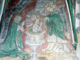 Fresko »Taufe des hl.Augustinus« in Neunkirchen a.Br. (um 1428)