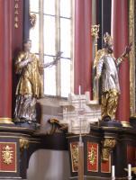 Stephanus mit der Märtyrerpalme und Augustinus mit dem flammenden Herzen.   in St. Michael Neunkirchen am Brand 1741