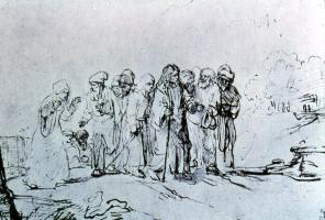 Die kanaanäische Frau, Federzeichnung Rembrandt (1606-1669)