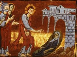 Jesu Macht über den Tod.   Talita kum! Mädchen steh auf!   Buchmalerei 11 Jht.
