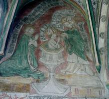 Taufe des Augustinus in der Augustinuskapelle Neunkirchen a.Br. (um1428).   Spruchband über der hl. Monika aus Augutinus' Bekenntnissen Lib. IX,10,26