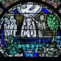 Das Glasbild ist Teil einer Fensterserie im Langhaus   des Bonner Münsters und entstand 1974-78.