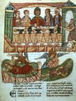 Reicher Mann und Lazarus (Lk 16,19-31) Buchmalerei, Verona, 13. Jh