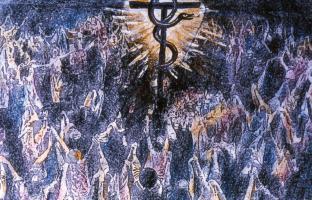 'Wie Mose die Schlange erhöht hat' (Joh 3,14) Collage, S. Grän 1987