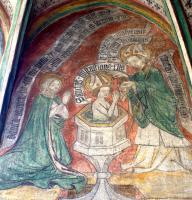 Heilige Monika bei der Taufe ihres Sohnes durch Bischof Ambrosius 387 in Mailand