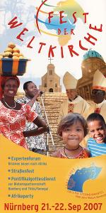 Titelseite des Flyers zum 'Fest de Weltkirche' am 21. und 22. September in Nürnberg