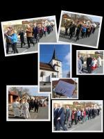 Treffpunkt der Jubilare und Abholung durch den Pfarrer Thomas Ringer mit Ministranten