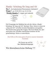 Handy - Schulung f�r Jung und Alt
