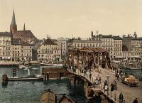 Stadtansicht von Stettin um 1895 - im Vordergrund die Lange Brücke