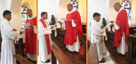 Kontrakterneuerung (vl) Fr. Boboy, Fr. Steven, Rev. Nelbert