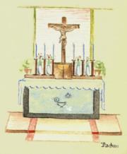 Altar in der Lagerkapelle - KZ Dachau - Zeichnung Dez. 1944