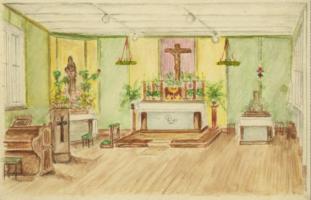 Dachau Kapelle Zeichnung Dez 1944