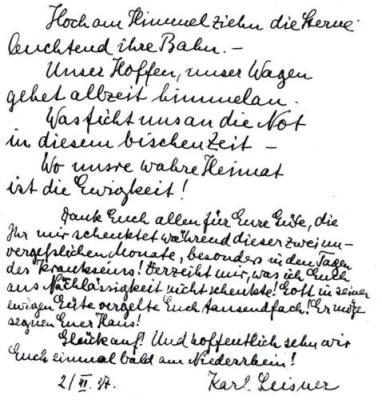 Eintrag Karl Leisners ins Gästebuch der Familie Ruby
