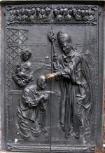 Portal an der Basilika in Kevelaer: Priesterweihe im KZ - Entwurf: Bert Gerresheim