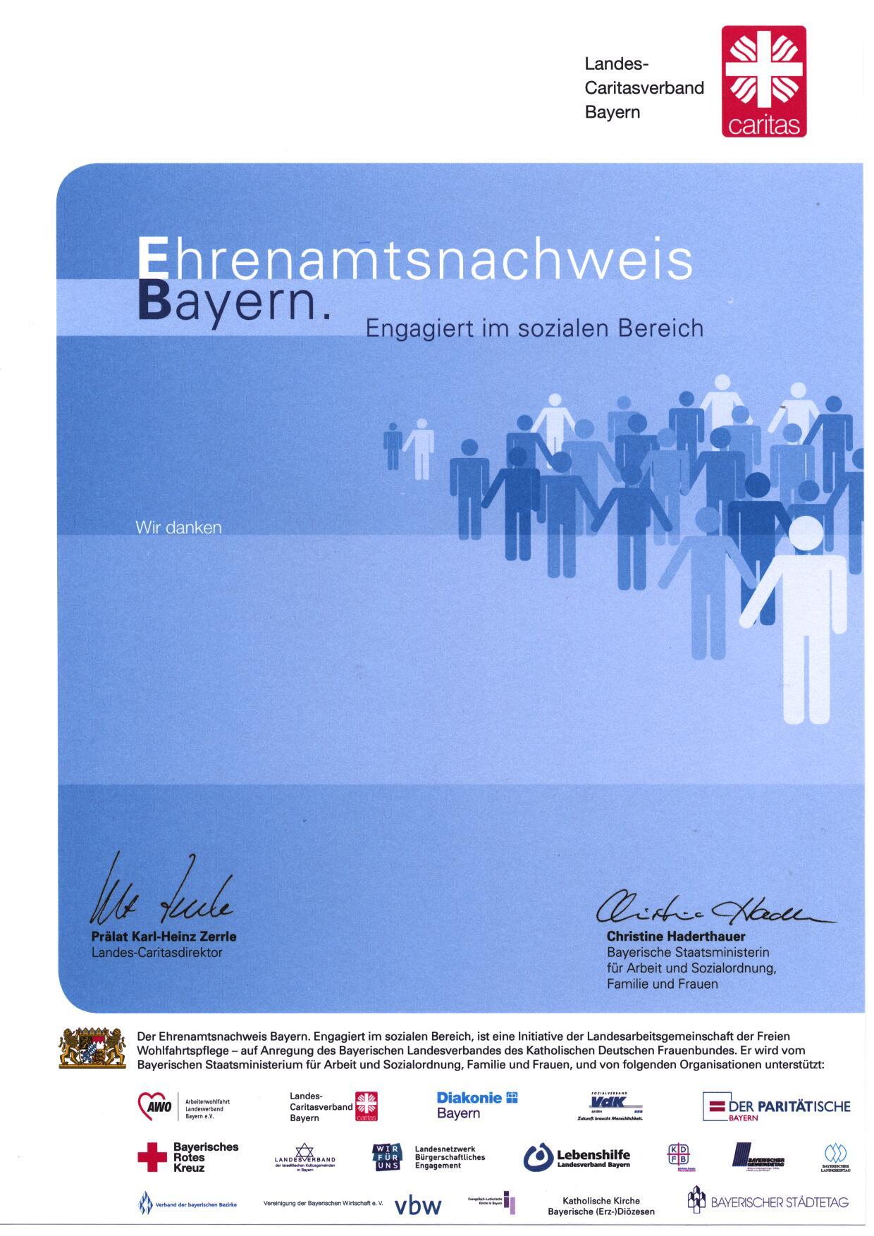 Ehrenamtsnachweis Bayern